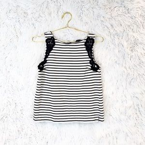 Banana Republic crochet trim striped tank top